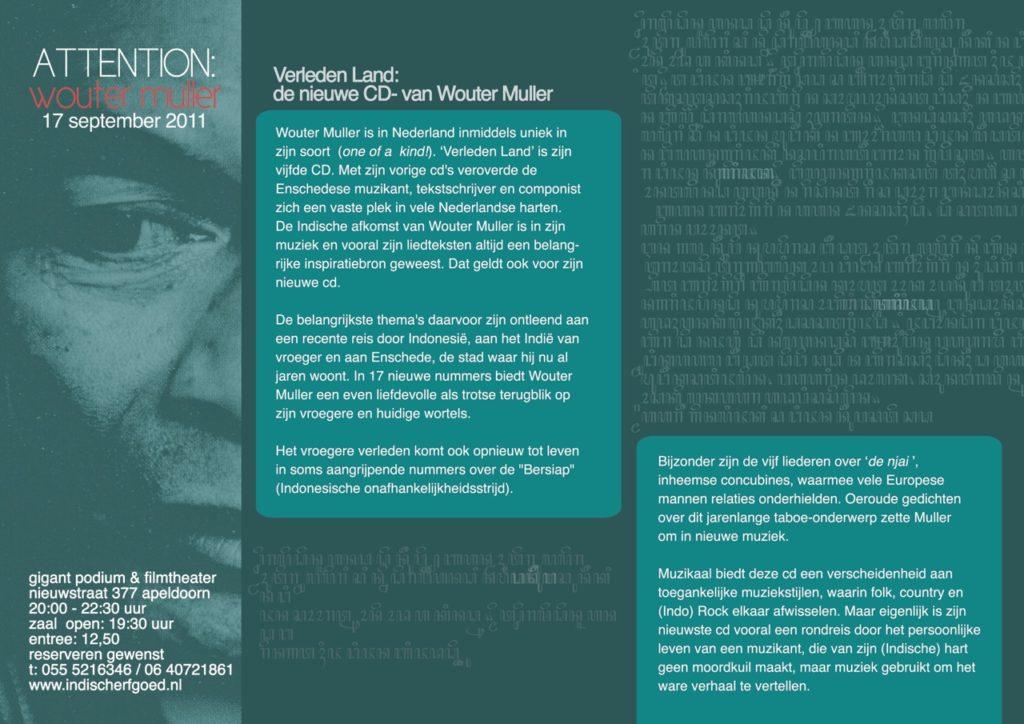 CD presentatie Wouter Muller 'Verleden Land'