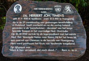Gedenksteen van Ds Herbert J. Timens (1920-1951)