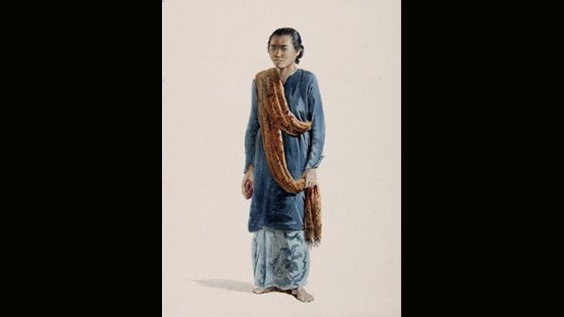 Frans Lebret - Portret van de Javaanse gehuwde vrouw en dienstmaagd Marina