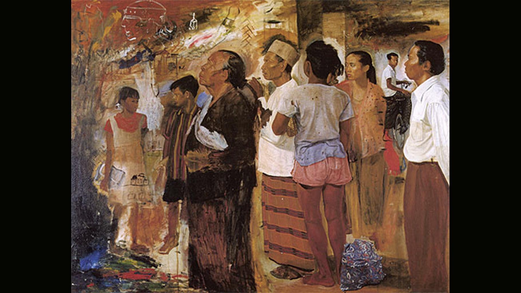 Sindu Sudjojono - Perusing a Poster